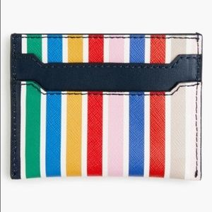 J Crew Bright Stripe Leather Card Case New